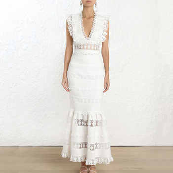 2019 Spring New Arrival Women Fashion 2 Pieces Sets Sexy V-neck White Top and Long Mermaid Skirt 2 Piece Set Women Lace Outfits - DISCOUNT ITEM  40% OFF All Category