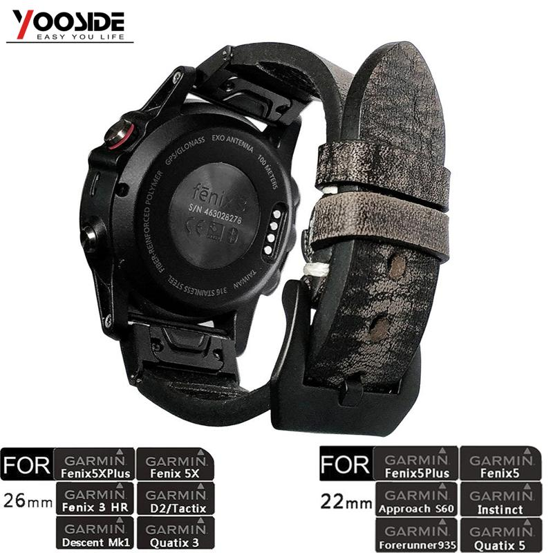 YOOSIDE 26mm 22mm Quick Fit Vintage Genuine Leather Watch Band Strap For Garmin Fenix 6X/5X Plus/Fenix 3/Forerunner 935/Fenix 5