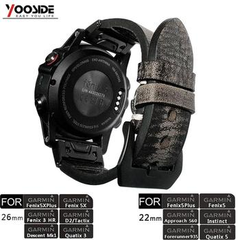 YOOSIDE 26mm 22mm Correa De Reloj De Cuero Genuino Vintage Para Garmin Fenix 6X/5X Plus/Fenix 3/Forerunner 935/Fenix 5
