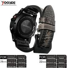 Yooside 26mm 22mm ajuste rápido pulseira de relógio de couro genuíno do vintage para garmin fenix 6x/5x plus/fenix 3/precursor 935/fenix 5