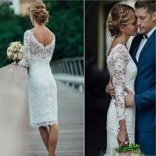 New Summer 2019 Short Wedding Dresses Long Sleeve Knee Length Simple White Ivory Sheath Bohemian Bridal Gowns