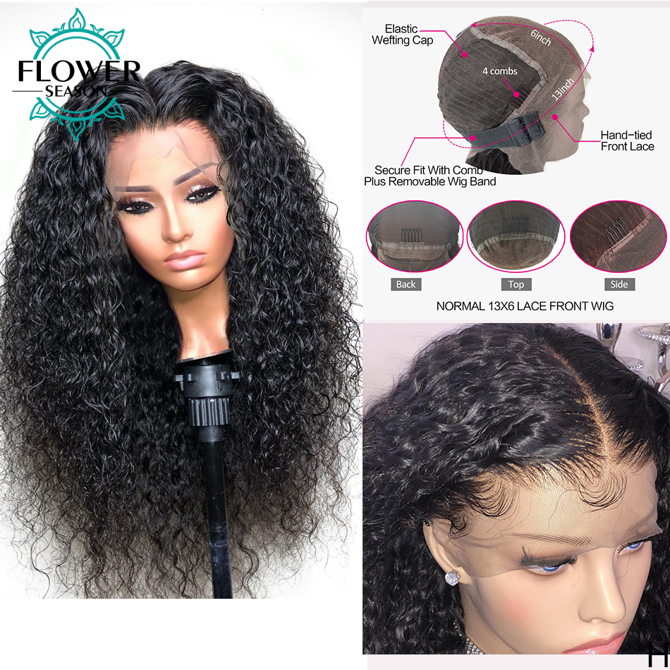 Curly Lace Front Wigs  With Baby Hair 13x4 Lace Frontal   150% Preplucked Bleached Knots Flowerseason 2