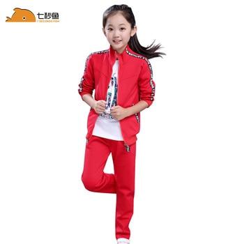 цена kids clothes 2020 girls clothing sets 4-15 girl outfits two piece  sport sets  girls spring clothing set  kids training suit онлайн в 2017 году