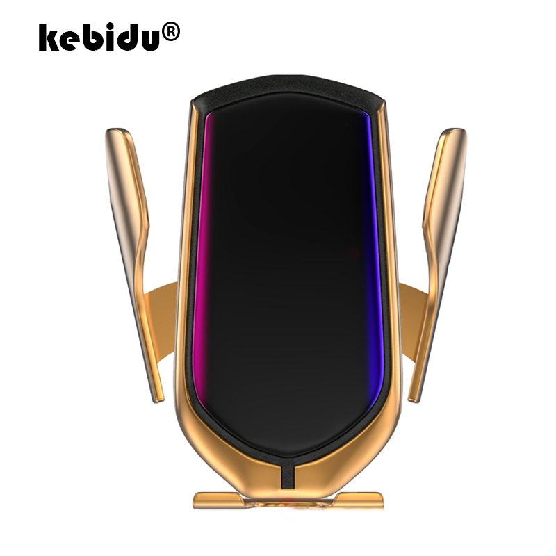 kebidu 2 Colors R1 Automatic Clamping 10W Car Wireless Charger Infrared Induction Qi Wireless Charger Car Phone Holder For Phone