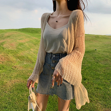 Spring and summer new style Korean version of loose lazy open stitch Thin section hollow mid-length jacket shawl