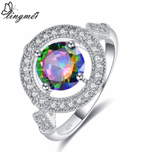 Lingmei Wholesale New Jewelry Cocktail Wedding Engagement Rainbow & Blue White Zircon Silver 925 sterling Ring Size 6 7 8 9
