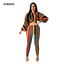 Echoine Fashion Colorful Striped Print Long Sleeve Crop  Top and Pencil Pants Puff sleeve Blouse Women Trouser Sets Club Outfit
