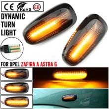 2PCS 자동차 LED 동적 깜박이 차례 신호 빛 측면 마커 램프 Opel Zafira A 1999 2005 Astra G 1998 2009
