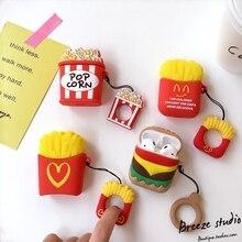 3D еда попкорн фри гамбургер силиконовые палец кольцо чехол для беспроводной зарядки для наушников AirPods 1 2 Bluetooth-гарнитура крышка