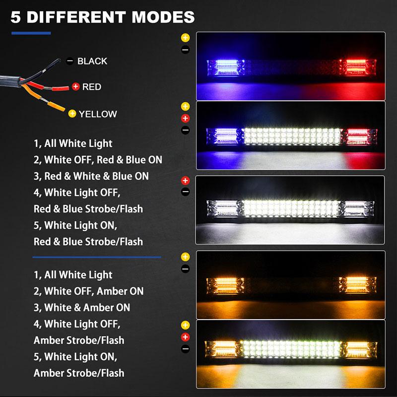 Image 2 - 20 Inch Offroad LED Light Bar Dual Color White Amber Blue Red Spot Flood Warning Strobe LED Work Lamp For Truck ATV SUV 4X4 UTVLight Bar/Work Light   -