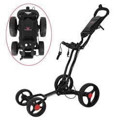 4 колеса, тележка для гольфа, легко складывается, Черный алюминиевый сплав, с держателем зонта, PLAYEAGLE, тележка для гольфа, 4-колесная тележка