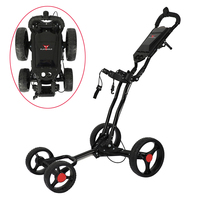 4 Wheels Golf Push Cart Easy Folding Black Aluminum alloy With Umbrella holder PLAYEAGLE Golf Trolley 4-wheel-pull cart