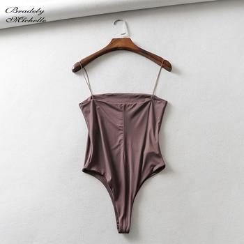 BRADELY MICHELLE summer sexy women slim solid Spaghetti strap Bodycon bodysuit Streetwear backless Jumpsuit 4