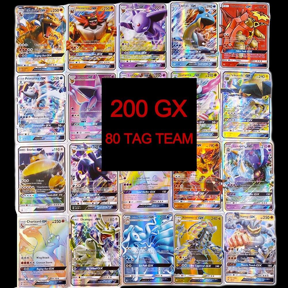 TOMY 200 PCS Pokemon TAG TEAM Card Lot Featuring 80tag Team 20mega 20 Ultra Beast Gx