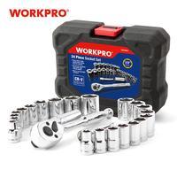 "Workpro 24 pc conjunto de ferramentas chave torque soquete conjunto 3/8 ""chave de catraca soquete chave inglesa|Conjuntos ferramenta manual| |  -"