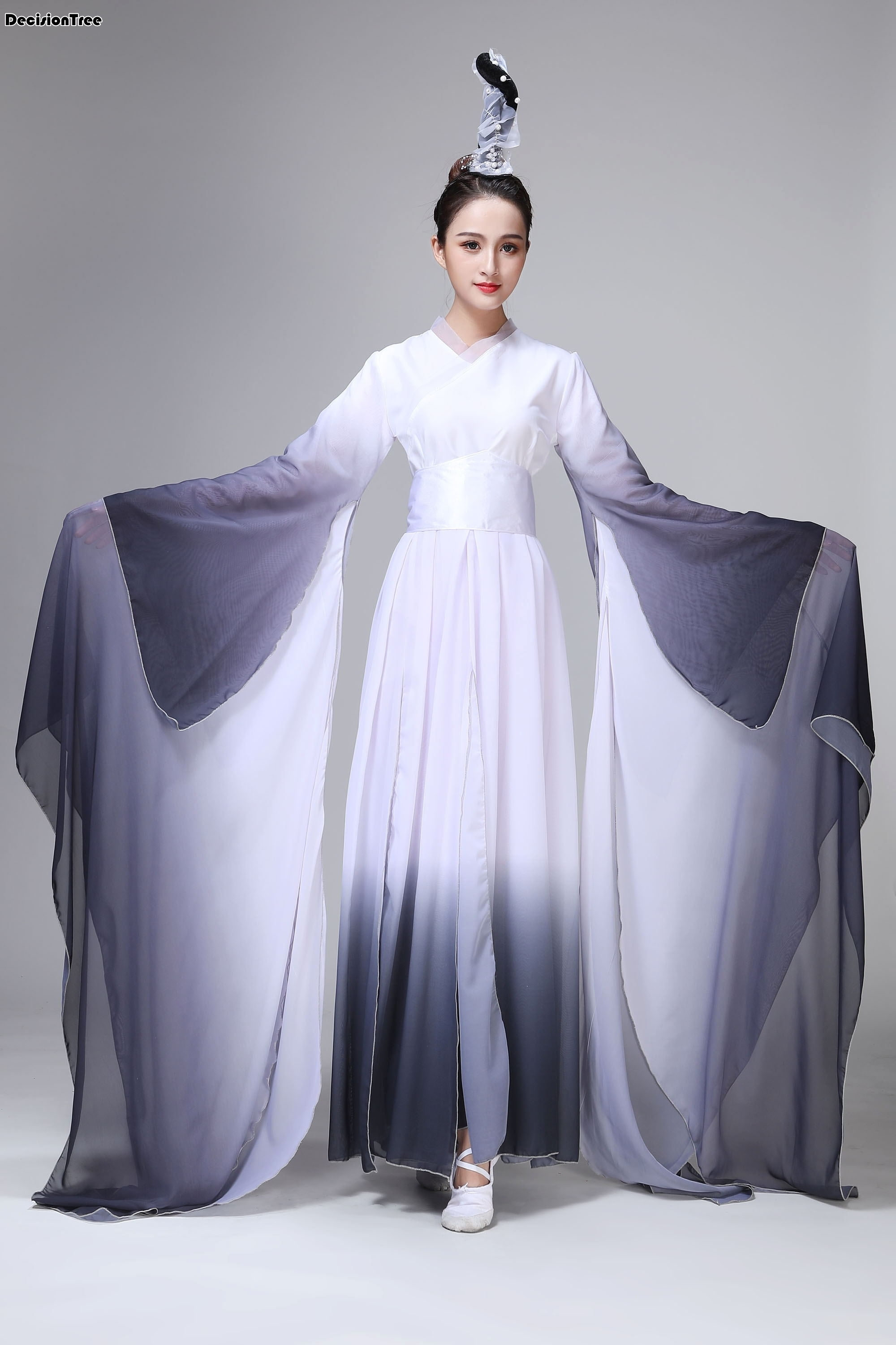 2020 Women Classical Long Sleeves Black Fairy Clothing Stage Hanfu Performance Chinese Folk Ink Water Sleeves Dance Costumes