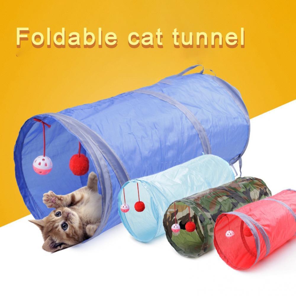 Pet Cat Training Play Toy Kitten 2-Way Foldable Tunnel Tube Hanging Bell Ball Training Play Toy Supplies Pet Products