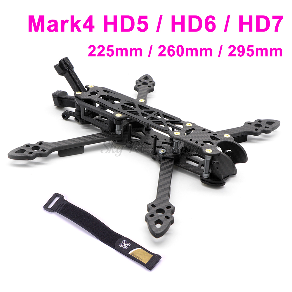 Mark4 HD5 5 Inch 225mm / HD6 6inch 260mm / HD7 7inch 295mm Carbon Fiber Freestyle Quadcopter Frame Kit W/ 5mm Arm Antenna Holder