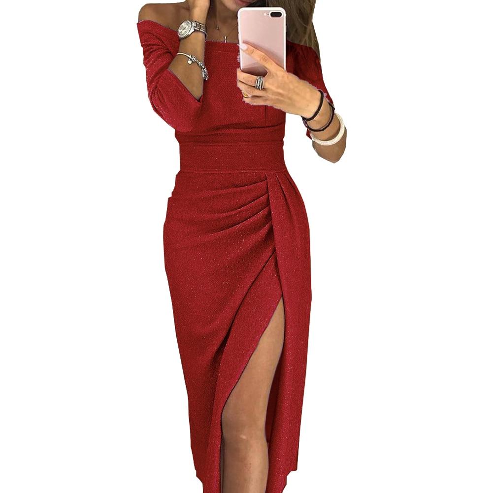 H9b4e1d84c17c476b9d546d64649edc13V New Evening Party Sexy Women Off Shoulder High Split 3/4 Sleeve Bodycon Maxi Dress