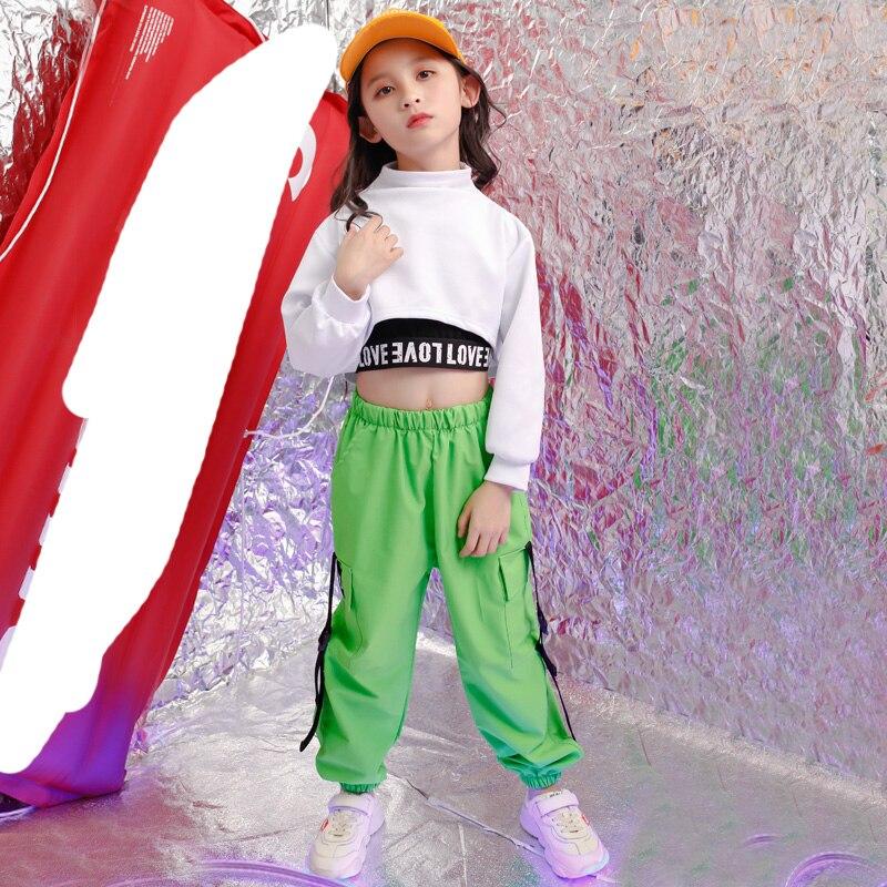 Children Hip Hop Outfits Cropped Sweatshirt Shirt Tops Casual Pants For Girl Dance Wear Costume Wear Ballroom Dancing Clothes