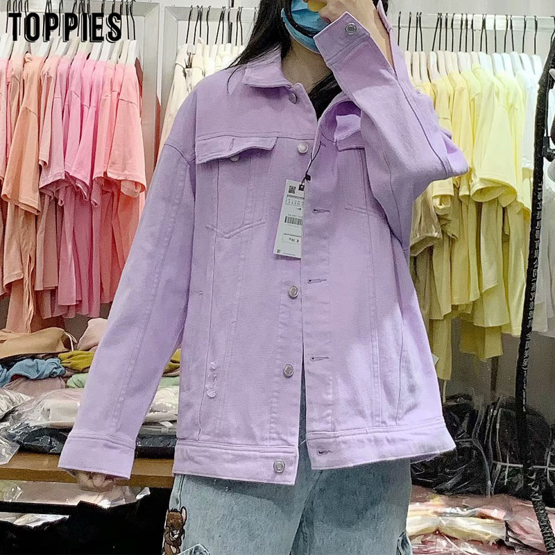Toppies 2020 Fashion Violet Denim Jackets Womens Ripped Hole Jeans Jacket Coat Loose Oversize Coat