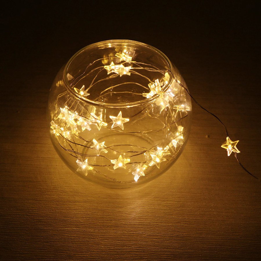 20/30/40 LED Star Shape String Lights Copper Wire Christmas Wedding Party Decoration Fairy Lights Battery Operate Twinkle Lights