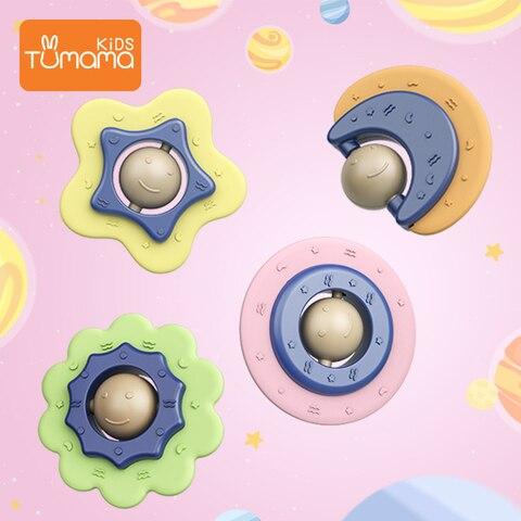 4 pcs bebe chocalhos mordedor sinos de mao para bebe recem nascidos estrela de plastico