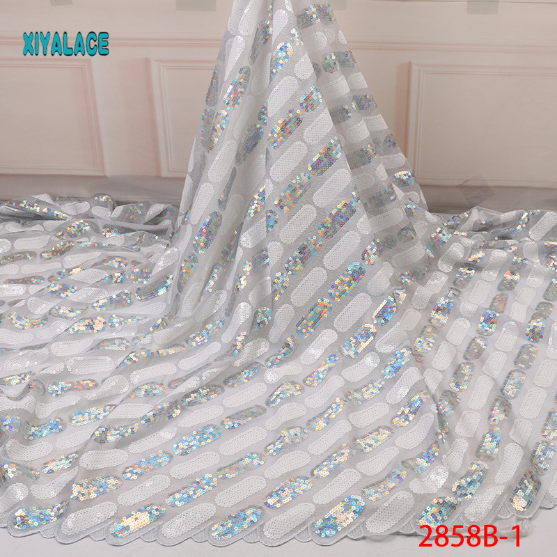 Nigerian Sequins Lace Fabric 2019 High Quality African Net Lace Fabric Wedding French Tulle Lace Material For Dress YA2858B-1