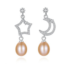 YUEYIN Hot Sale 2019 New Style Real Silver Earrings Moon and Star 8-9mm Nature Pearl Earromgs for Women Elegant Charming Fine