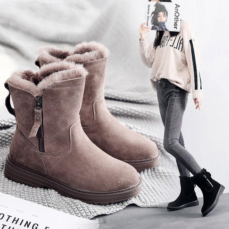 2020 Winter New Korean Version Plus Velvet Warm Snow Boots Female Short Tube Cotton Boots Tassel Zipper Boots Cotton Shoe