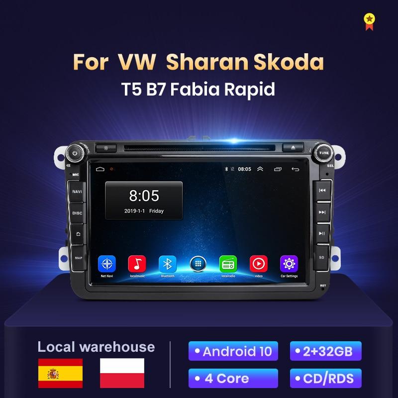 Junsun 2 Din 2 + 32GB Android10 auto radio pour VW T5 B7 siège seat Sharan Skoda Fabia rapide auto multimedia radio voiture avec bluetooth/carplay/autoradio gps/car play