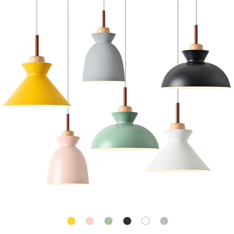 Nordic Combined Real Wood Pendant Lights Multicolor Aluminum Lamp Shade Pendant Lamp for Home Lighting Restaurant Bar Hotel Cafe