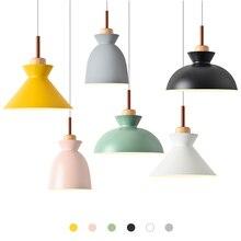 Lámparas colgantes de madera auténtica combinada nórdica lámpara Multicolor de aluminio lámpara colgante de sombra para iluminación del hogar restaurante Bar Hotel café