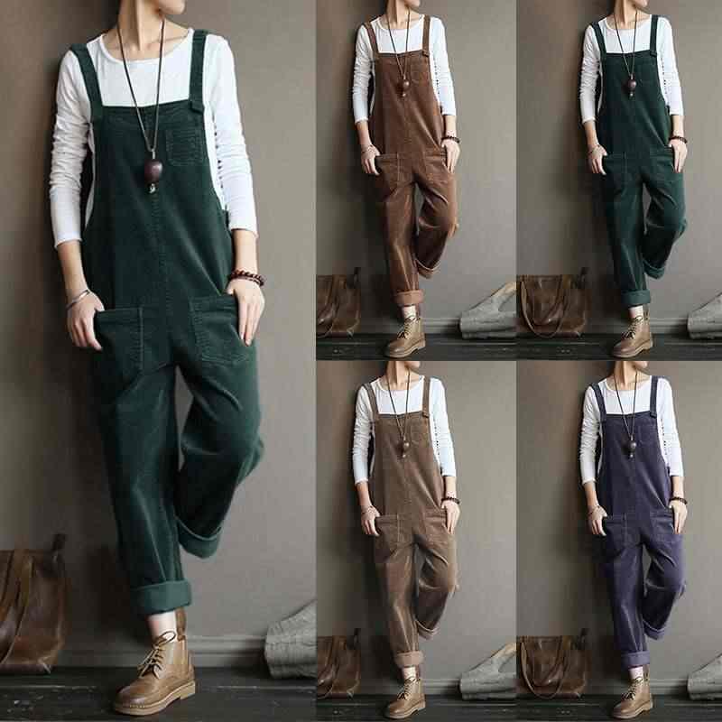 Vintage Jeans-hosen-denim-overall-spielanzug-strumpf ZANZEA Casual Cord Hosen Solide Rübe Overalls Frauen Lange Overalls Overalls Weibliche Pantalons