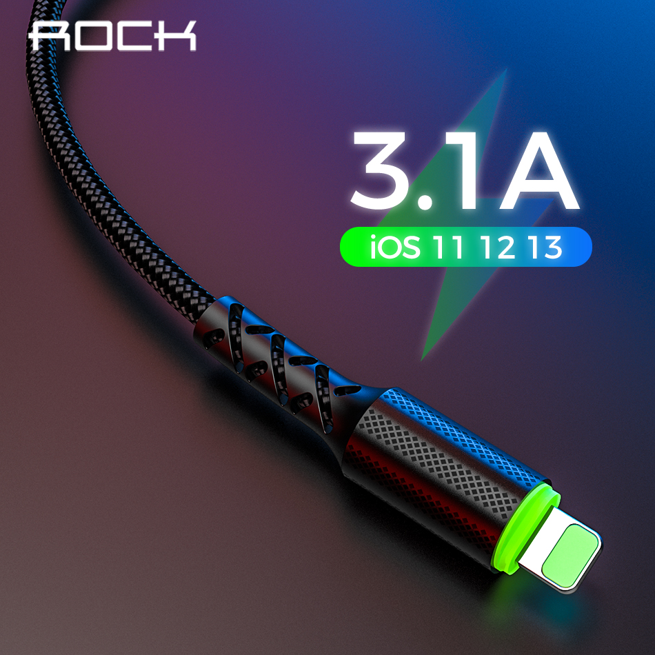 ROCK 3.1A Fast Charging Nylon Data USB Cable For IPhone Cable 6 7 8 X XS XR 11 IPad Cable Mobile Phone Charger 1M 2M Cord Wire