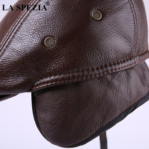 Image 4 - LA SPEZIA Classic Beret Caps Men Warm Genuine Leather Caps Ivy Windproof Duckbill Hat Burgundy Winter Luxury Brand Flat Hats