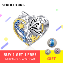 Hot Sale 925 Sterling Silver Elf of Wisdom Beads with Blue CZ fit Original original DIY Charm Bracelet For Women Jewelry Gift недорого