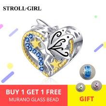 Hot Sale 925 Sterling Silver Elf of Wisdom Beads with Blue CZ fit Original original DIY Charm Bracelet For Women Jewelry Gift недорого