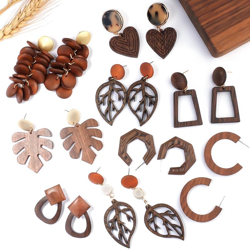 AENSOA Vintage Brown Color Big Geometric Wooden Drop Earrings 2020 Statement Wood Dangle Earrings Fashion Jewelry Gift Wholesale