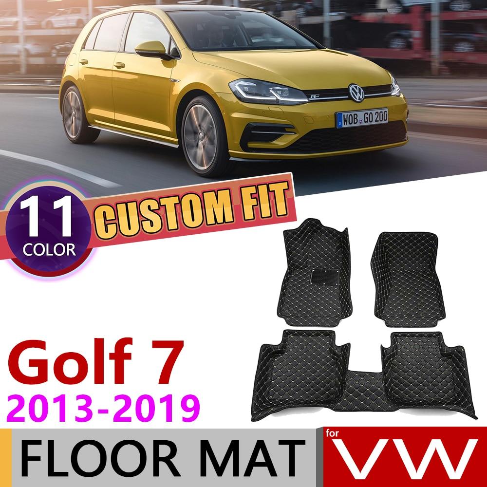 Custom Car Leather Floor Mats For Volkswagen VW Golf 7 Hatch MK7 2013~2019 5 Seats Foot Pad Carpet Accessories 2014 2015 2016