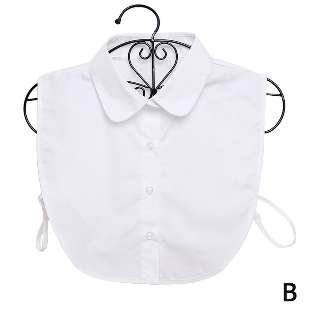 Women Shirt False Collar Vintage Solid White Black Women Dickie Accessories Clothes Tie Removable Collar Detachable Lapel V8A3