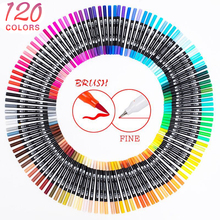 12-120 Color Dual Brush Art Marker Pens Fine Tip and Brush Tip Great for Adult Coloring Books Calligraphy Lettering Art Supplies cheap CN(Origin) 120 colors HV-120PPB 120colors