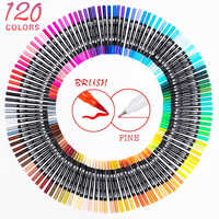 120 Color Dual Brush Art Markers Pen Fine Tip and Brush Tip Great for Adult Coloring Books Calligraphy Lettering Art Supplies