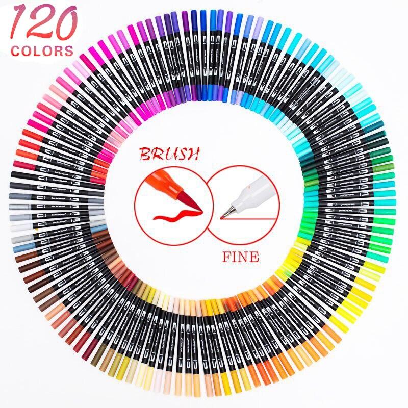 120 renk çift fırça sanat Markers kalem ince ucu ve fırça ucu için harika yetişkin boyama kitapları kaligrafi yazı sanatı malzemeleri
