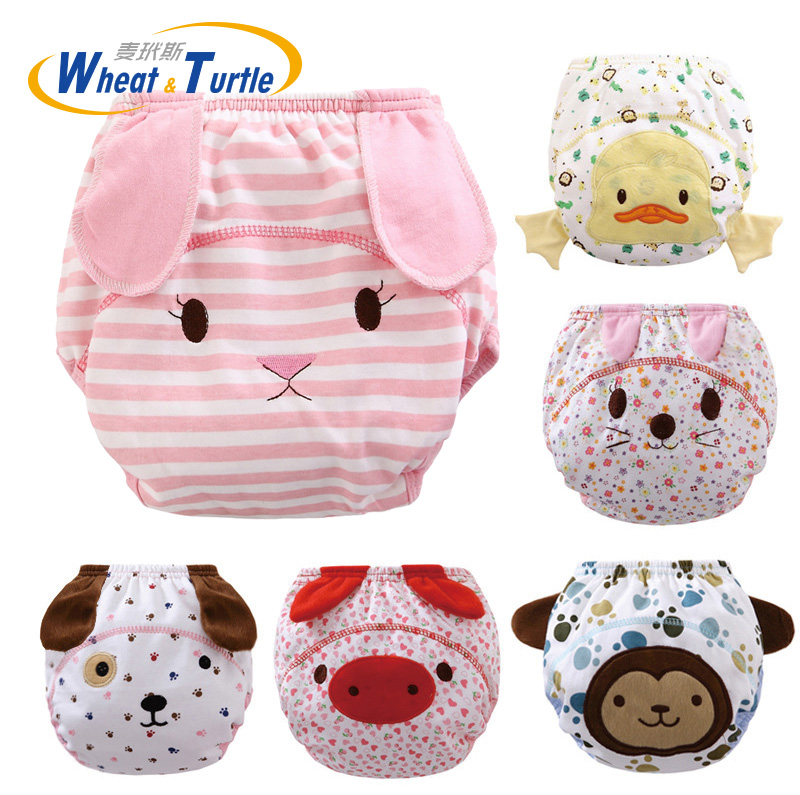 1Pcs Mother Kids Baby Bare Cloth Diapers Animal Pattern Reusable Infants Children Cotton Diaper Training Panties Nappy Changing