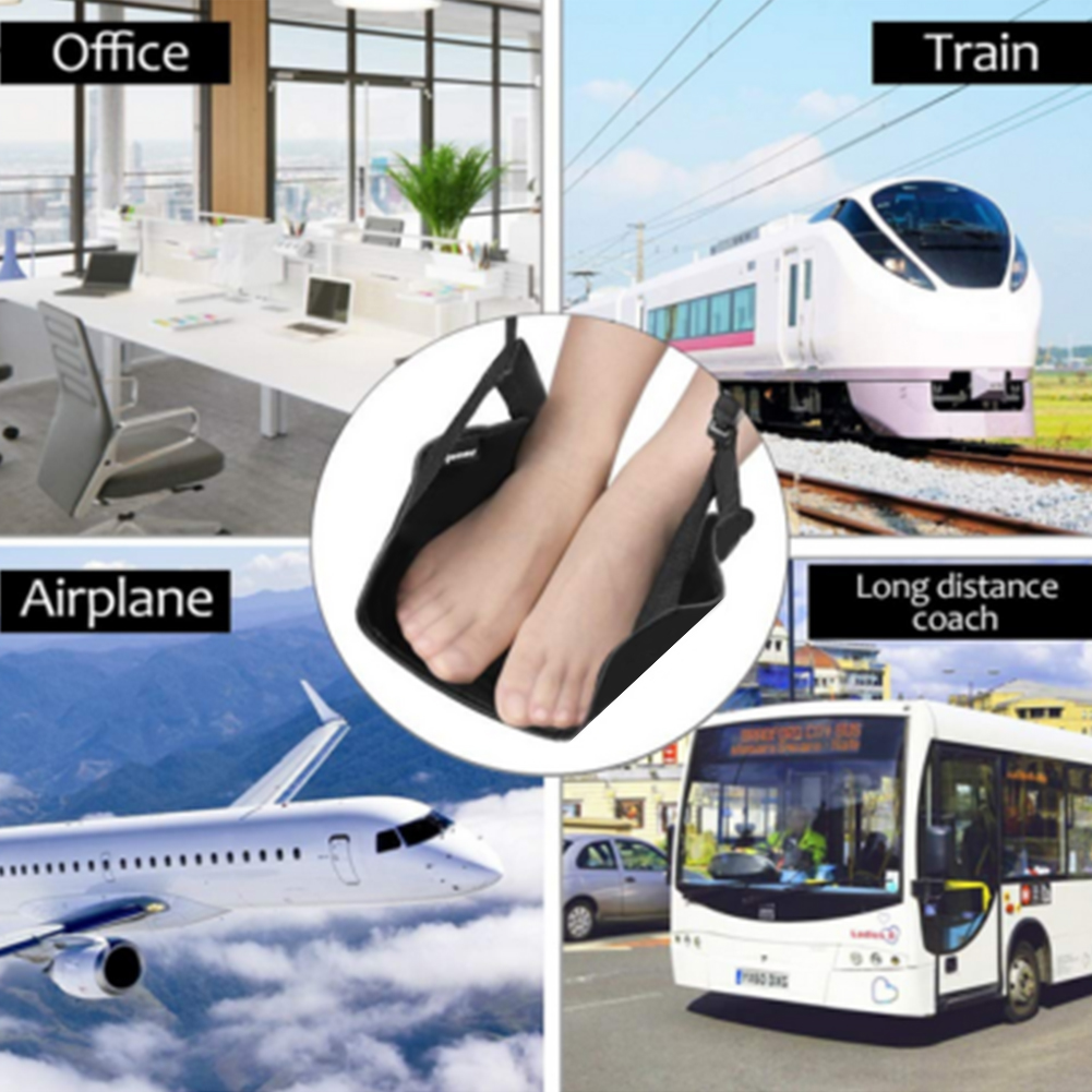 Non Slip Portable Travel Airplane Hammock Flight Home Office Carry On Under Desk Memory Foam Foot Rest Accessories Leg Ergonomic image