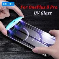 Vidrio Templado UV para OnePlus 9 Pro, pegamento líquido completo, One Plus, 8, 7, 7T Pro, Protector de pantalla, película de vidrio Plus, 9Pro, 8, novedad