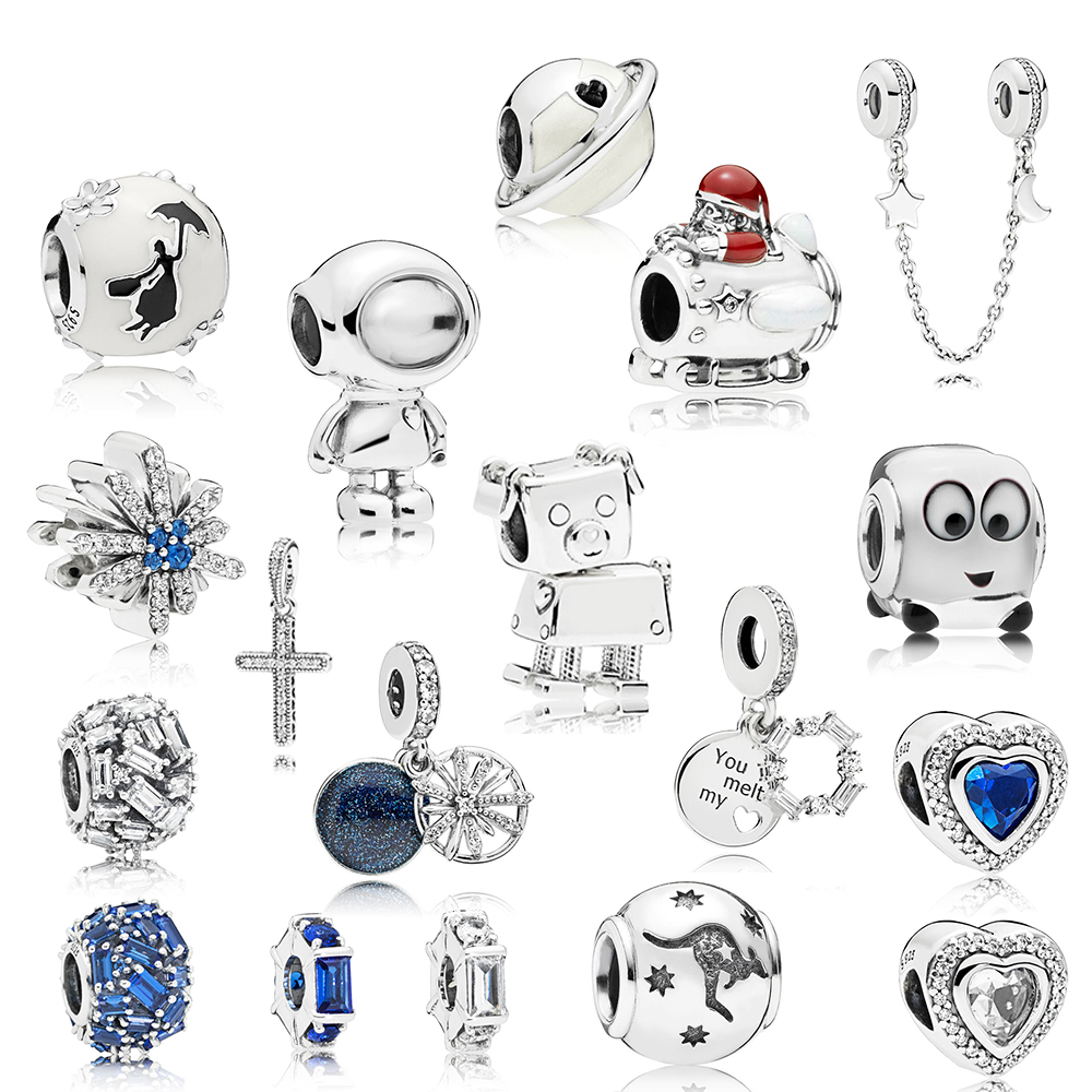 NEW 100% 925 Sterling Silver New Winter Series Space Christmas Astronaut Charm Planet Bead Elegance Dazzling Fireworks Charm