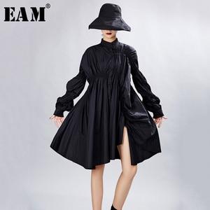 Image 1 - [EAM] Frauen Big Size Oversize Plissee Kleid Neue Stehen Ansatz Lange Laterne Hülse Lose Fit Mode Flut Frühjahr herbst 2020 1A331