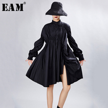[EAM] Women Big Size Oversize Pleated Dress New Stand Neck Long Lantern Sleeve Loose Fit Fashion Tide Spring Autumn 2020 1A331
